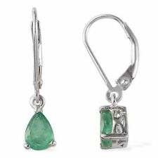 Leverback Emerald Sterling Silver Fine Earrings