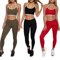 Womens Yoga Fitness Crop Top Vest+Pants Leggings Set Gym Workout Sports Wear