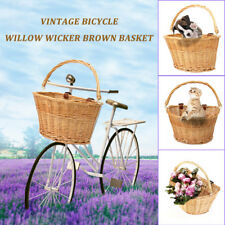 Vintage Wicker Bike Bicycle Front Basket Box Handlebar Leather Straps Shopping