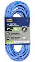 Lot 2 4 6 8 10 12 25' Blue All-Weather Extension Cord 16/3 Light End Gauge Set