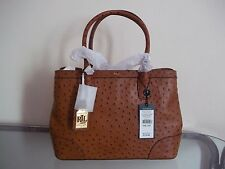Lauren Ralph Lauren Fairfield Large Tan Embossed Ostrich Tote / Detachable Strap