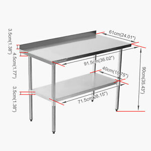 Voilamart Commercial Stainless Steel Kitchen Catering Table Work Bench Worktop