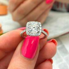 Valentine's 14K White Gold Halo Diamond Engagement Ring 1.50Ct White Cushion Cut