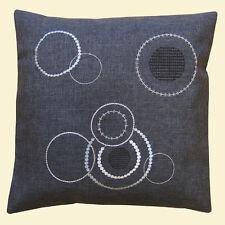 Kissenbezug Kissenhülle 40 x 40 cm grau Sofakissen Couchkissen Dekokissen Kreise