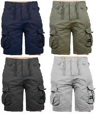 Mens Crosshatch Twill Cargo Combat Shorts Knee Length Cotton Bermuda Summer Pant