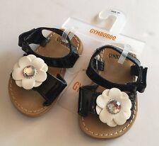 NWT Gymboree Bee Chic Sz 03 Black Patent Daisy Gem Flower Sandals for 6-12 Month