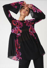People Black Printed Floral Symphony Bell Sleeve Slip Dress Tunic Top M