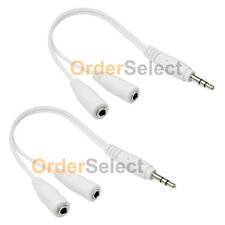 2 Dual 3.5mm Earbud Earphone Headphone Splitter for Apple iPhone iPod Touch Nano