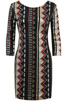 SALE-Sequin Mini Party Dress-Gold Silver Black Red Zig Zag Aztec Geo Design 8-10