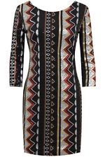 Sequin Mini Party Dress-Gold Silver Black Red Zig Zag Aztec Geo Design 8-10