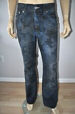 NEW TRUE RELIGION STRAIGHT PREMIUM BLUE BONE BAD BLUE CAMO CASUAL JEANS FOR MEN
