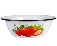 White Enameled Mixing Bowl with Strawberry Design Fruit Veggie Bowl 0.8 L RUSSIA