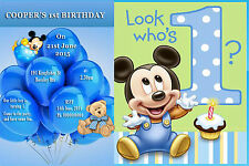 PERSONALISED 1st BIRTHDAY PARTY INVITATIONS MICKEY/MINNIE DESIGN WITH MAGNET
