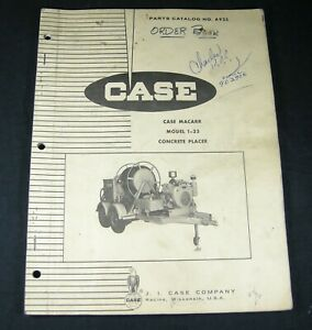 CASE MACARR 1-35 Concrete Placer Parts Manual Book List Catalog OEM