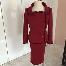 CHRISTIAN DIOR BOUTIQUE Wool Burgundy 2 Piece Skirt and Jacket  FR 44 UK 14-16