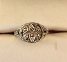 Antique French Art Deco/ Edwardian Gold & Silver Ring with marcasite