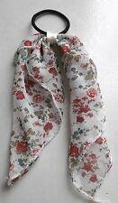 Elastique à cheveux fin tissu noeud vintage rock motif fleuris rouge vert E0012D