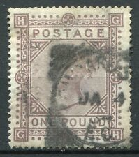 Weeda Great Britain 92 VF used ₤1 high value, filled in perfin, rare! CV $17,500