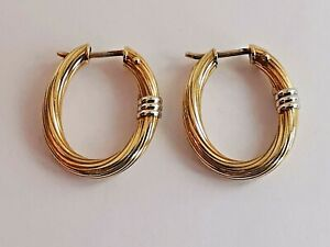 9ct 375 YELLOW GOLD HOOPS WHITE GOLD DECORATED earrings oval shape 20x17mm 2.1g