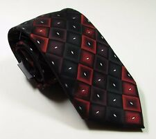 JOHN ASHFORD NEW Men's Polyester Necktie Miami Geo Red Black