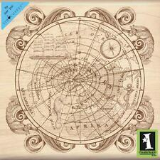 Old World Map Wood Mounted Rubber Stamp by INKADINKADO 60-00976 NEW