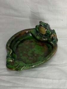 #2 1920's WELLER ART POTTERY COPPERTONE FROG LILYPAD ASHTRAY PIN DISH BOWL