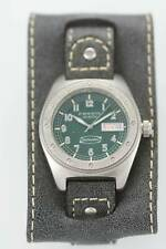 Fossil Defender Watch Mens Green Day Date Stainless Silver Leather Gray 100m