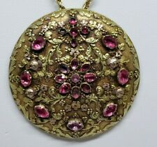 18kt Victorian pendant embossed w/ Green & Rose Gold w/ pink topaz 9.8 Grams
