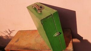 Nice Old Wooden Toolbox display Box with detachable lid and leather handle