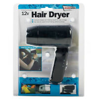 12V In Car Hair Dryer Black Compact Travelling Festival Camping Portable Caravan