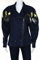 Lillie Rubin Blue Denim Vintage Metallic Patch Motorcycle Jacket Size 10