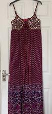 Monsoon Gold Thread Sequin Red & Purple Silk Maxi Dress UK Size 10  Paisley VGC