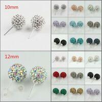 Sparkle Rhinestone Crystal Round Disco Ball 925 Silver Stud Earrings 10mm 12mm