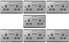 7 x BG NBS22G Brushed Steel / Satin Chrome Twin Switch Sockets - 13amp