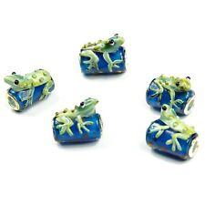 5pc Glass Lampwork bead Animal Green Frog fit European charm bracelet Murano