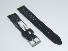 """FLUCO Genuine Shell Cordovan Leather Watch Band Starp 18 mm Black """"Racing"""""""