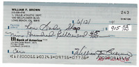 Bill Brown signed autographed check! RARE! AMCo Authenticated!