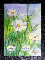 "Original art by Bastet ""Flowers"" OOAK hand painted ACEO"