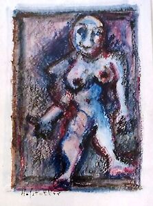 Osias Hoffstatter (1905-1994) , Large Gouache on Paper, Surrialism , Figure