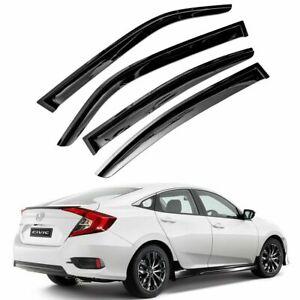 For 2016-2021 Honda Civic Sedan 4pcs Smoke Window Sun Rain Visors Wind Defectors