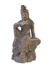 Chinese Rustic Wood Sitting Kwan Yin Statue cs1672