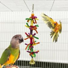 Parrot Chew Bite Toys Blend Cotton Rope Bell Bird Parakeet Hanging Cage Colorful