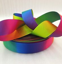 """1m Rainbow Colours Red Pink Green Blue Yellow Printed Grosgrain Ribbon, 1"""" 25mm"""