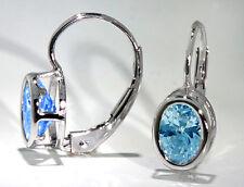 14k White Gold Drop Earrings Oval Shape Sky Blue Topaz