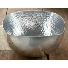 """St. Croix Kindwer 14"""" Square Hammered Aluminum Bowl, Silver - A1213"""