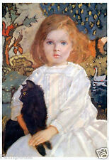 Vintage Art/Painting/Poster/ Young girl with a Black Cat by John Duncan/Scottish
