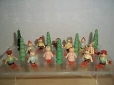 Vintage Italy Lot 12 Wooden Painted Miniature Skiers and 6 Wooden Trees