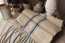 Vintage homespun grain sack fabric hemp 8.5  yds Blue stripe organic material