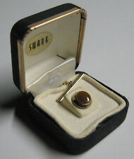 Vintage SWANK brass caramel cat's eye tie tack tac with chain MOD lapel pin