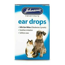 JOHNSON'S EAR DROPS CATS, DOGS KILLS MITES SOOTHES SOFTENS WAX VETERINARY 15ML